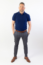 Heren polo - Denim washed Blue
