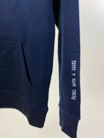 Hoodie Unisex – Navy Blue 'Rebel with a cause' tekst