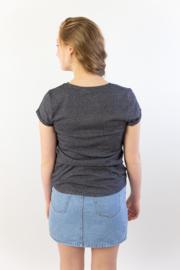 Ladies 'basic' T-shirt - Black/White stripes