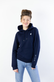 Hoodie Unisex – Navy Blue 'Rebel with a cause' tekst