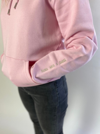 Hoodie Unisex – Pink Cotton 'Rebel with a cause' tekst