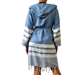 Hamam badjas ongevoerd Likya blauw