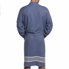 Hamam badjas Yaz  ongevoerd navy blue