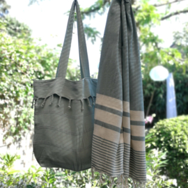 Stonewashed boho tas mint