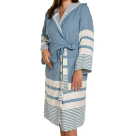Hammam bathrobe 'Likya' blue