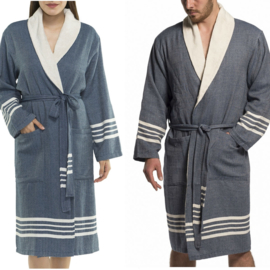 Hammam terry bathrobe His/Her Navy