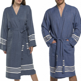 Hammam Bathrobe His/Her Navy