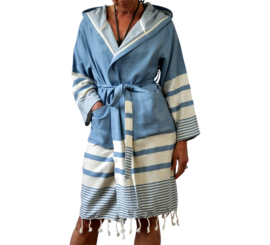 Hammam bathrobe 'Likya' in blue