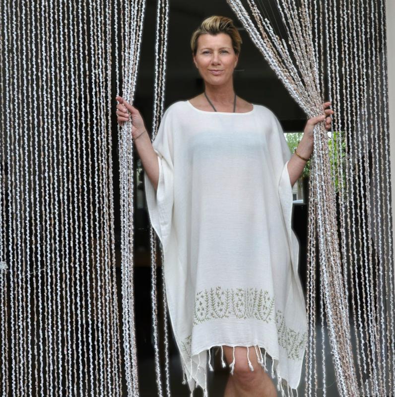 Beach dress Sivas Ecru-Olive