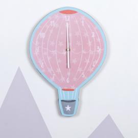 Wandklok - Pink Hot Air Balloon
