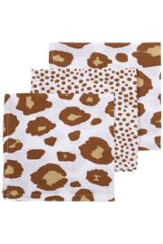 Hydrofiele Monddoekjes 3-pack Panter/Cheetah - Camel - 30x30 cm