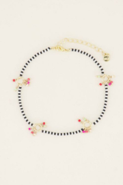 My Jewellery enkelbandje zwart-witte kraaltjes