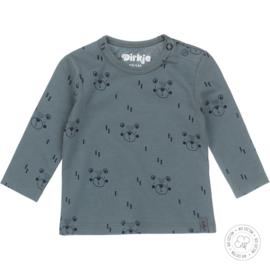 Dirkje jongens shirt print dusty green basis