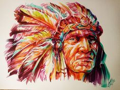 Diamond Painting ronde steentjes indianen gezicht 50 x 60