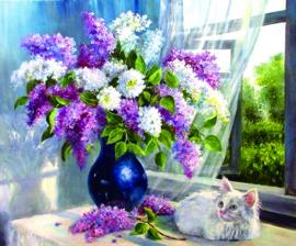 Diamond Painting bloemenvaas 30 x 40 rond