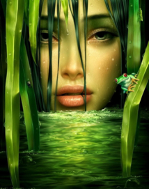 Diamond Painting rond gezicht groentint 50 x 60 cm
