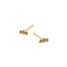 BY LAUREN triple row mini studs oorbellen gold