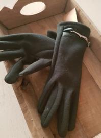 Handschoenen legergroen met gesp