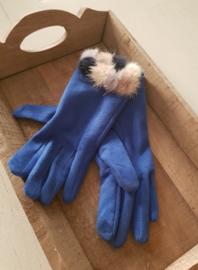 Handschoenen helblauw met pomponnetjes