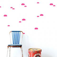 Ferm living sticker wolkjes fluor roze