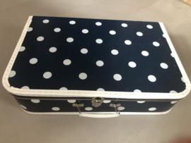 Polkadot kofferset koffertjes blauw wit groot grote stippen