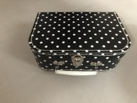Polkadot set van 3 koffertjes zwart wit