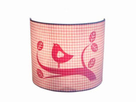 Little Dutch wandlamp roze ruit vogel