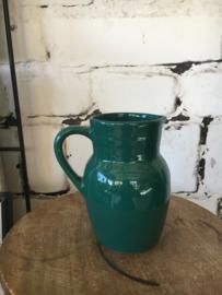 Vintage vaasje kannetje groenblauw zeegroen