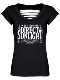 Ladies T-shirt - Keep Out of Direct Sunlight - Razor Back