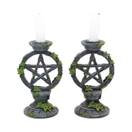 Kandelaar - Wiccan Pentagram - set/2