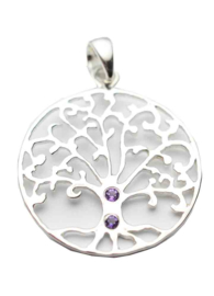 Tree of Life hanger - Sterling Zilver -  Amethyst Stone