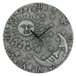 Wandklok - Sun and Moon - Silver effect