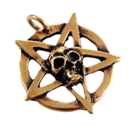 Pentacle Skull - hanger - Brons
