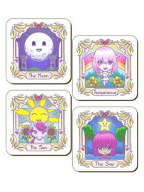 Set/4 onderzetters - Deadly Tarot Kawaii - The Sun, Star, Temperance & Moon