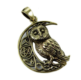 Owl On Moon - Bronzen hanger - Lisa Parker