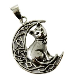 Cat On Moon - Sterling Zilver - Lisa Parker