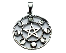Pentagram Circle hanger - Sterling Zilver