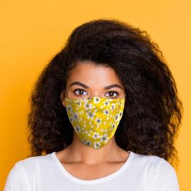 Mondmasker - Geel Bloemen - Herbruikbaar