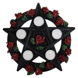Theelichthouder - Pentagram Rose - 29,5cm