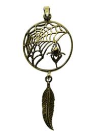 Spider Feather - Bronzen hanger - Lisa Parker