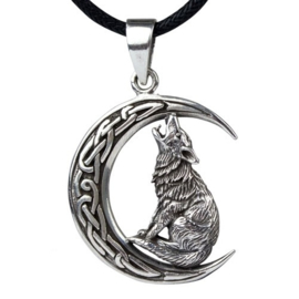 Hanger - Howling Wolf in Moon - 925 silver