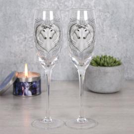 Set van 2 champagne glazen - Unicorns  - Anne Stokes