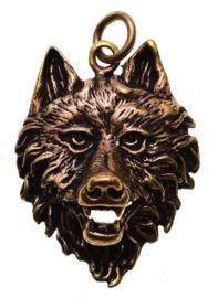 Wolf Head - hanger - Brons