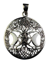 Triple Moon Pentagram hanger - Sterling Zilver