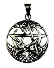 Moon Pentagram - hanger - Sterling Zilver