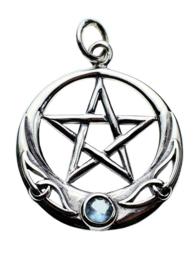 Pentagram hanger - Sterling Zilver - Aqua stone