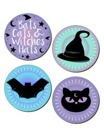 Set/4 onderzetters - Bats, Cats & Witches