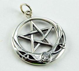 Pentagram hanger - Sterling Zilver - Clear stone