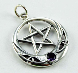 Pentagram hanger - Sterling Zilver - Amethyst stone