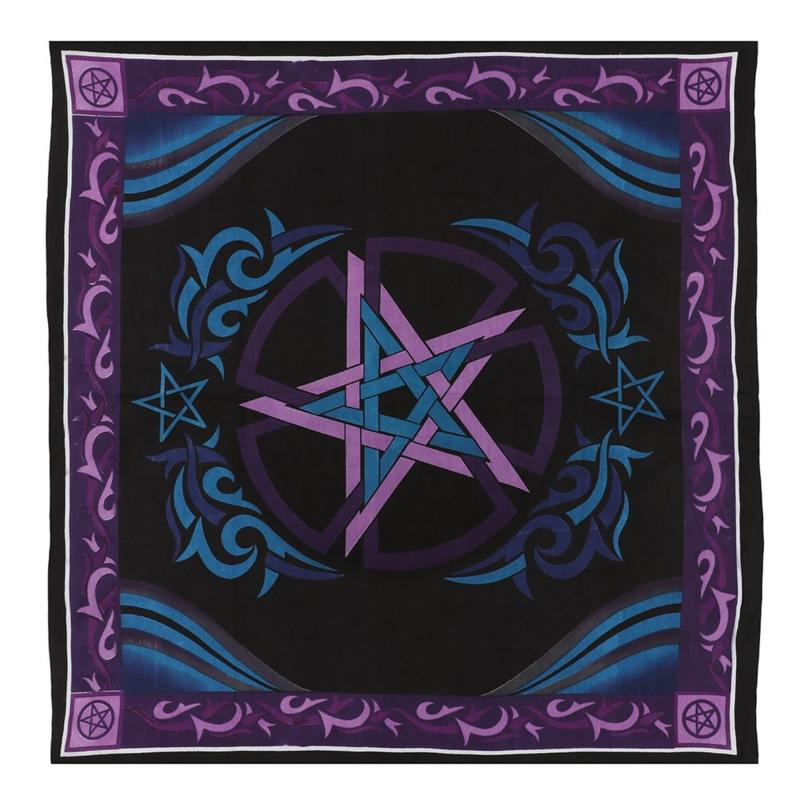 Altaarkleed - Pentagram - Paars en zwart